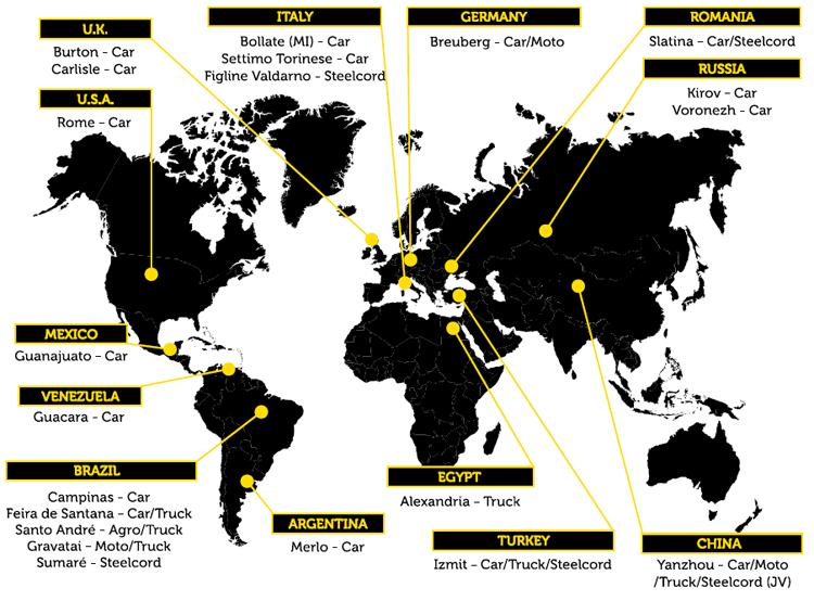 PIRELLI TYRE PLANTS IN THE WORLD
